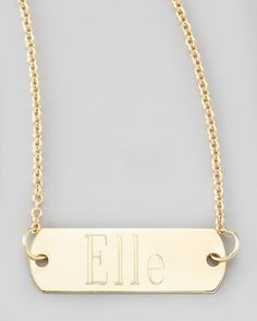 """Zoe Chicco Personalized Gold Bar-Pendant Necklace, 26"""" - Neiman Marcus"""