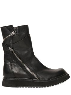 CINZIA ARAIA - 35MM ZIPPERED SMOOTH LEATHER BOOTS