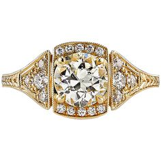 Old European Cut Diamond Gold Engagement Ring   From a unique collection of vintage engagement rings at https://www.1stdibs.com/jewelry/rings/engagement-rings/