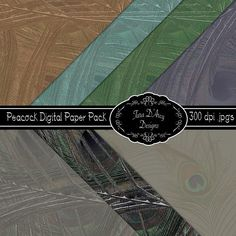 Peacock digital scrapbooking paper pack - can be used for weddings and invitations $3