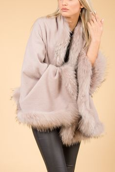 Jayley Pink Fur Wrap | Wool Wraps