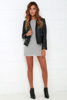 Love everything about this look...hair, dress, jacket, shoes
