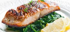 Salmon on spinach leaves- Lachs auf Blattspinat Salmon on spinach leaves - Salmon Empapelado, Grilled Salmon, Baked Salmon, Crusted Salmon, Maple Salmon, Alaska Salmon, Salmon Fillets, Salmon Dinner, Ginger Salmon