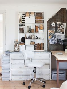 File cabinets, interior design & architecture books, vintage magazine collection and a drafting desk