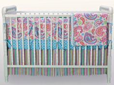 """Kress Co. -""""Oh Happy Day"""" Paisley and Stripes Baby Girl 9-Piece Crib Bedding Set"""