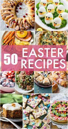 50 + Easter menu recipes including breakfast, eggs, brunch, easy Easter side dishes, dinner, Easter ham, Easter desserts, and homemade Easter candy!
