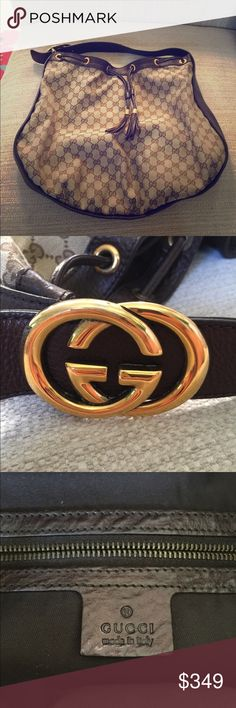 Gucci Brown GG Canvas Large Shoulder Bag/Purse The bag/purse shows very little signs of use, no damage. In great shape. Very nice for all occasions. Gucci Bags Shoulder Bags