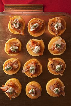 """Smoked Trout Blinis with Crème Fraîche and Dill   maybe with smoked salmon instead and smaller """"pancakes"""""""