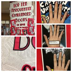 """Cathy Jo Nelson's great """"Banned Books Week"""" Library display."""