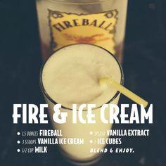 Fire & Ice Cream (w/ Fireball Cinnamon Whisky) -- Drink Recipes : fireballwhisky Liquor Drinks, Cocktail Drinks, Cocktail Recipes, Alcoholic Drinks, Whiskey Cocktails, Bourbon Drinks, Fall Cocktails, Holiday Drinks, Craft Cocktails