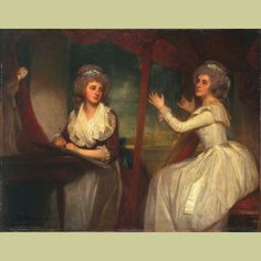 George Romney's double portrait of Ladies Caroline and Elisabeth Spencer, 1786. These aristocratic young women demonstrate genteel accomplishments, such as all ladies of quality were expected to possess, in this case, drawing and music.