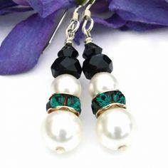 """Snowmen in Emerald"" glittering handmade holiday Swarovski pearl and crystal snowman earrings."