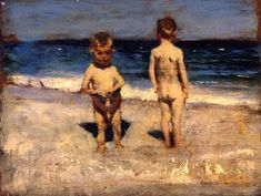"""Two Boys on a Beach, Naples"" (also known as ""Innocents Abroad"" or ""LIttle Boys, Naples""), John Singer Sargent, 1878, oil on panel, 10 x 13.5"", private collection."