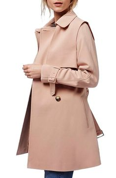 Topshop Belted Double Breasted Trench Coat available at #Nordstrom