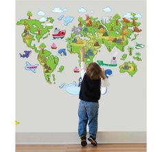 Wall Stickers Large Animal World Map Wall Decals Removable Sticker Home Decor Kids Nursery Art & Garden Nursery Wall Stickers, Removable Wall Stickers, Wall Decor Stickers, Nursery Wall Decor, Room Decor, Wall Decals, Nursery Art, Wall Art, Creative Wall Decor