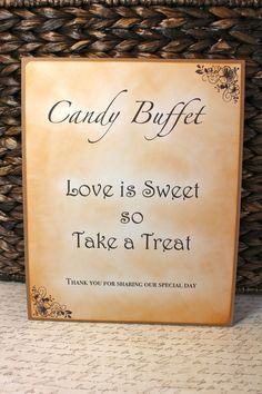 vintage candies | Vintage Inspired Candy Buffet Sign 8 x 10 by JacquelynVaccaro