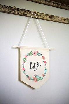 Baby Initial Wall Hanging, Custom Nursery Wall Hanging, Baby Room Wall Hanging, Initial Wall Hanging, Floral Letter Banner, Fabric Wall Art