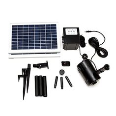 @Overstock - Water solar pump is designed for fountain, pond, or outdoor use Powered by solar: save money and energy Water rate is adjusted by a variable speed valve http://www.overstock.com/Home-Garden/Timer-Control-16-watt-Solar-Water-Pump-With-Remote-Control/6155501/product.html?CID=214117 $227.99