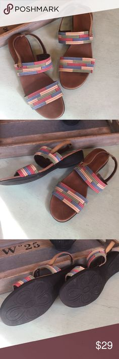 Munro American sandals Munro American made in the USA 🇺🇸 very comfortable sandals with colorblock details. If you aren't familiar with this. Rand these do run a little small more like a 9 - 9.5 in my opinion but say size 10. Minor wear here and there but in good condition over all. See pics Munro Shoes Sandals