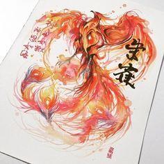 watercolor phoenix
