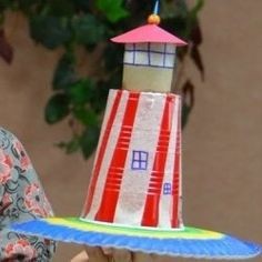 Lighthouse made from plastic cup and paper tube