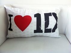 One Direction Throw Pillow Cover. 1D Shaped Logo Pillow.  Love One Direction. $10.00, via Etsy. - for kristen for christmas...