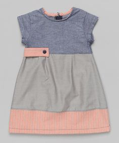 Look at this Anna Bouché Blue & Gray Chambray Color Block A-Line Dress - Toddler & Girls on #zulily today!