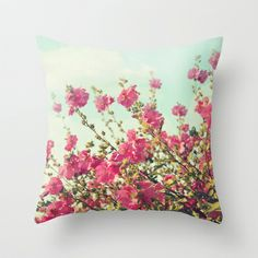 blowing in the wind Throw #Pillow by Sylvia Cook Photography - $20.00  #flowers #floral #pink #aqua #homedecor