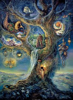 .:.Tree of Wonders by Josephine Wall.:. Once in a while I feel compelled to paint surrealistic collections of images. When I am in the mood I never quite know what the eventual composition will be and sometimes I am surprised at the outcome.In this painting I have placed a collection of beautiful and fascinating objects amongst the branches of a tree. 'Herne' is depicted in what is actually the doorway of the cottage where I live. Complete with eyebrow window and lamp. There are many faces of tree spirits hidden within the branches and much symbolism such as the couple who represent love.
