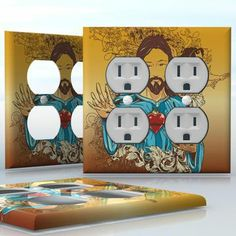 DIY Do It Yourself Home Decor - Easy to apply wall plate wraps | Jesus is Your Savior  Christian motif  wallplate skin sticker for 2 Gang Wall Socket Duplex Receptacle | On SALE now only $4.95