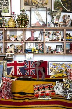 Mark Hearld's flat and studio in Portland Street, York Industrial Bathroom Design, Bathroom Trends, Bathroom Designs, Portland Street, Country Living Magazine, Bohemian House, Royal College Of Art, Creative Walls, Displaying Collections