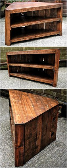Pallets wood corner tv stand is another appealing and thought-provoking pallets project that is entirely crafted from upcycled pallets wood. This pallet wood tv stand will allow you to use it in your tv lounge or in your room. It also grants us storage in it to keep our DVDs, audio players and other sound equipment in it.