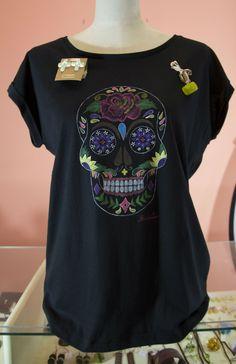 ethnic t-shirt hand painted skull mexican  camiseta étnica pintada a mano  calavera mexicana