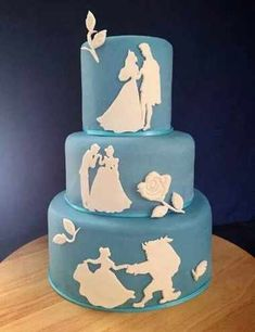 Disney silhouette cake - For all your cake decorating supplies, please visit… Beautiful Cakes, Amazing Cakes, Princess Wedding Cakes, Disney Wedding Cakes, Princess Party, Disney Princess Cakes, Princess Bridal, Disney Themed Cakes, Silhouette Cake
