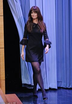 Pantyhose Outfits, Black Pantyhose, Black Tights, Nylons, Katie Holmes, Chloe Grace Moretz, Dress With Bow, The Dress, Navy Dress