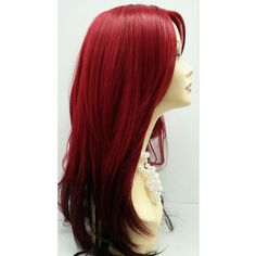 Long 24 Inch Straight and Wavy Ruby Red Dark Brown Ombre Wig With... ($50) ❤ liked on Polyvore featuring beauty products, haircare, hair styling tools, hair, wigs, bath & beauty, black, hair care, hair dryer curling iron and dryer curling iron