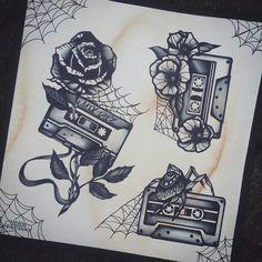 Oldschool tattoo ink cassette illustration drawing