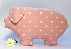 Spotty Pig pillow/cushion/accent by myRetrotextiles on Etsy, £20.00