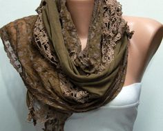 Brown Scarf  Headband Necklace Cowl with Lace Edge by by fatwoman, $19.00