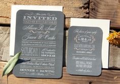 Chalkboard Wedding Invitation Rustic Wedding by SuitePaper on Etsy, $10.00