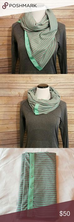 LULULEMON VINYASA Grey and Mint Green Stripe Scarf LULULEMON VINYASA Grey and Mint Green Stripe Scarf with Reversible Side Solid Grey. Excellent condition.  Youtube lululemon vinyasa scarf for the many different ways to wear! Can be a top, shrug as well lululemon athletica Accessories Scarves & Wraps