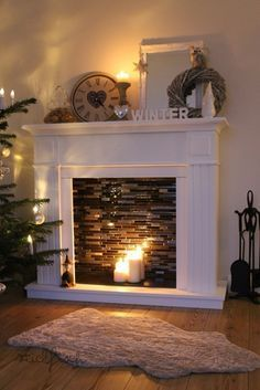 {Stickfisch}: My new (deco) fireplace - Home Love - Haus Design Faux Fireplace Mantels, Candles In Fireplace, Fireplace Ideas, Mantel Ideas, Farmhouse Fireplace, Fireplace Remodel, Faux Mantle, Fireplace Brick, Decorative Fireplace