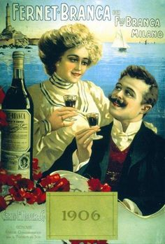 The secret to a happy life Fernet-Branca of course. Vintage Italian Posters, Pub Vintage, Vintage Advertising Posters, Poster Vintage, Print Advertising, Vintage Labels, Vintage Advertisements, Pin Up Posters, Poster Ads