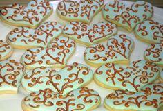 YUM! One Dozen Gilded Heart Sugar cookies Wedding favor Chocolate or Vanilla. $38.00, via Etsy.: