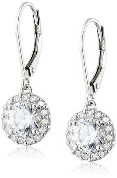 Platinum-Plated Sterling Silver Swarovski Zirconia Halo Leverback Drop Earrings (3 cttw) -- Click on the image for additional details. (This is an Amazon Affiliate link)