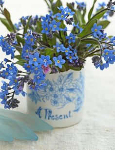 Pretty blue Forget-me-nots in vintage cup. Styling & Photography © Ingrid Henningsson/Of Spring and Summer