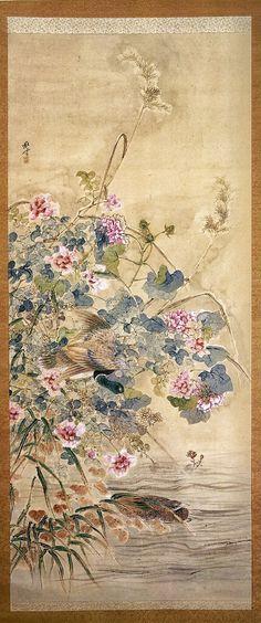 Okamoto Shuki. Ducks and Flowers. Japanese hanging scroll. Mid-nineteenth century. Portland Art Museum.
