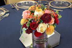 Autumn Centerpiece of roses, garden roses, dahlias and berries | bergeronsflowers.com