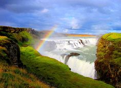 """Gullfoss, Iceland. Iceland has the worlds nicest and cleanest natural springs/waterfalls. Funny how """"IceLand"""" got its name from the very first inhabitants of the island. They realized how beautiful and green the island was, so they called it IceLand to avoid people from sailing to there land. (The Island was first inhabited in the year 870)"""