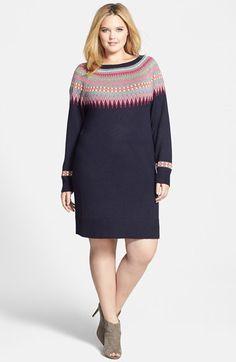 Eliza J Fair Isle Sweater Dress (Plus Size)